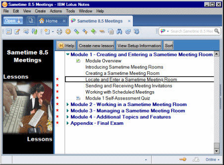 Image of TLCC's Sametime course in the Notes client