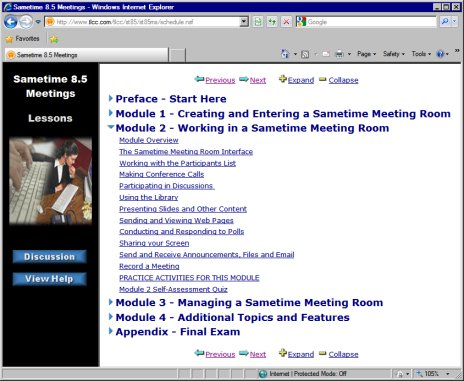 Image of Sametime Course in a web browser