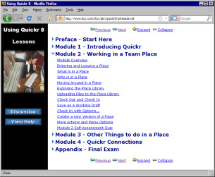 Image of Quickr Course in a web browser